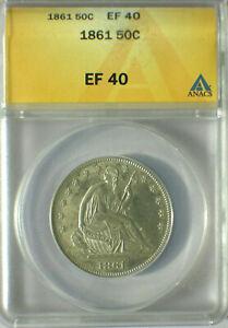 1861 50C Seated Liberty Half Dollar ANACS EF-40