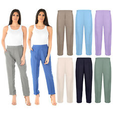 BRAND NEW LADIES WOMENS HALF ELASTICATED WAIST TROUSERS WITH POCKETS PLUS SIZES