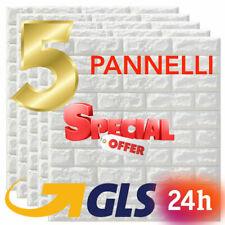 5 PANNELLI MURO 3D ADESIVO PARETE PIASTRELLE MATTONELLE BIANCO SCHIUMA BIANCO