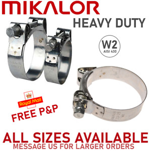 17 mm - 19 mm MIKALOR W2 Stainless Steel Hose Clamps Supra Exhaust T Bolt