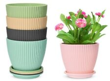 New Listing6 inch Plastic Planters with Saucers, Set of 5 Indoor Flower Plant Pots Modern D