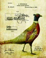 Pheasant Hunting Patent  Poster Art Print Vintage Shotgun Shells Dogs PAT429