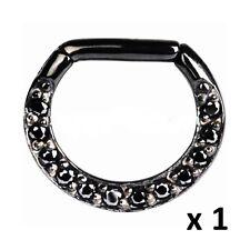 Black Gem Jewelled Clicker Septum Ring Rook Hoop 16g (1.2mm) 17mm x 13mm Steel