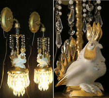 2 Sconce Brass vintage lamp Porcelain Deco ins ROOSTER CHICKEN Beaded crystal