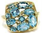 Natural Blue Topaz 9ct 9K 375 Solid Gold Multi-Cut Stone Ring - Bravo Jewellery