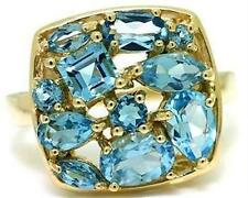 Natural Blue Topaz 9ct 9k 375 Solid Gold Multi-cut Stone Ring - Bravo Jewellery