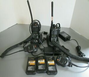 2 Kenwood TK-2180 Portable VHF Radios with KMC-41 Mics Chargers Batteries