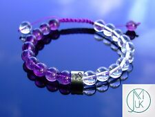 Capricorn Amethyst Crystal Birthstone Bracelet 7-8'' Macrame Healing Stone Reiki