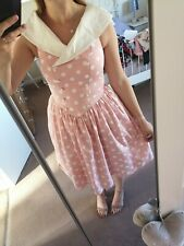 Pink White Polka Dot Flared Fifties Dress Vintage Dorothy Perkins Size 12 A1