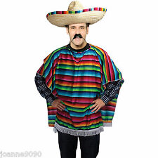 Adult Mens New Mexican Spanish Western Poncho Rainbow Fiesta Fancy Dress Costume