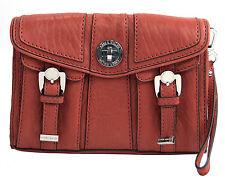 NWT Karen Millen Large Orange Leather Large Lock Front Clutch