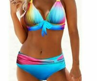 Women's Padded Push-Up Swimsuits Print Patterns Mid-Waist Bathing Suits Lingerie
