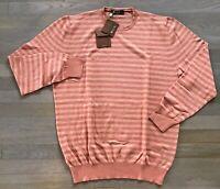 900$ Loro Piana Salmon Cashmere Silk Cotton Sweater XXL, EU 56 Made in Italy