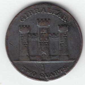 GIBRALTAR 2 quarts 1842 KM3 Cu 1-year type Victoria Average Minted 48,000 RARE !