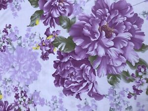 Beautiful Floral Cotton.Light Lilac Color With Purple Flowers. Good Quality .BTY