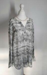 Cecil Germany Women's Tunic Blouse Lagenlook Longline  XL Indian Print Plus Size