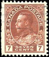 1911-25 Used Canada 7c VF Scott #114 Admiral KGV Stamp