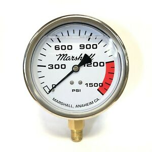 "Marshall 4"" Dial Nitrous Gauge, Liquid Filled, 0-1500 PSI, 1/4"" NPT LM"