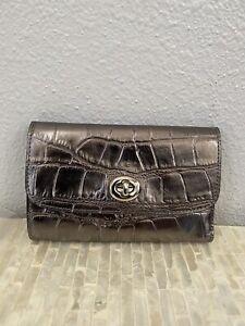 Coach Metallic crocodile-embossed leather Medium Envelope Wallet Gunmetal/Silver