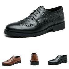 Brogue Mens Business Leisure Faux Leather Shoes Pointy Toe Oxfords Work Office L