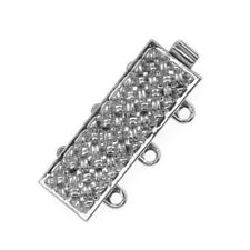 3 Silver Plated Crystalized Box Clasps 65610