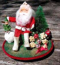 VTG  FOLK ART XMAS MUSIC BOX Rudolph Red Nosed Reindeer HAND MADE Santa, Elves