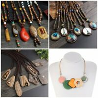 Vintage Sandalwood Handmade Beads Necklace Pendant Long Sweater Chain Jewellery