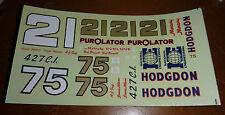 NASCAR DECALS JnJ #21/75 1/25 AJ FOYT PUROLATOR HODGDON DAVID PEARSON BONNETT