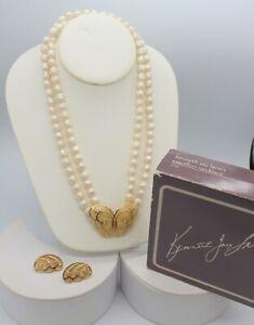 VTG Kenneth J Lane Papillon Necklace Earrings ENAMEL RHINESTONE Butterfly W/BOX