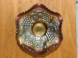Northwood Grape & Cable Fiery Ameythyst Carnival Glass Bowl  Iridescent  Ruffled