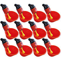 12Pcs Feed Automatic Bird Coop Poultry Chicken Fowl Drinker Water Drinking Cups