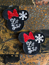 """2 Let it Snow Xmas Minnie Mouse Iron Sew On Patch 2.5"""" L x 2.75"""" W SAME DAY SHIP"""
