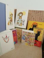 Lot Of 36 Vtg Kitty Cat Christmas Holiday Greeting Cards & Note Book & Note Pad