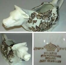 Crown Devon Fieldings 1/4 Pint Cow Creamer/ Milk Jug Ivory White + Brown Floral