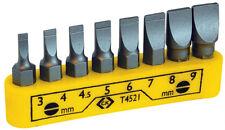 """CK TOOLS SLOTTED 1/4"""" HEX x 25mm LONG SCREWDRIVER INSERT BITS + Clip - Set of 8"""