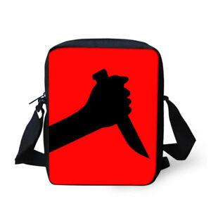 Halloween Knife Pattern Cross Body Messenger Bag Zipper Casual Handbag Pouch