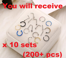 200+ pcs Nose Rings Hoop Stainless Steel Bone L Shaped Screw Nose Studs