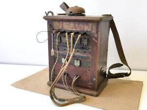 Klappenschrank OB05 zu 5 Leitungen, datiert 1916, im 1.Weltkrieg mit Trageriemen