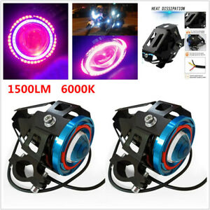 1500LM Scooter Spotlight Halo Projector Motorcycle Colorful LED Headlight Lamp