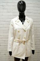 Giacca Lunga Donna FAY Taglia Size M Trench Cappotto Bianco Cintura Jacket Woman