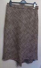 Ted Baker Size 3 UK12 EU40 US8 brown tweed lined skirt with curved hemline