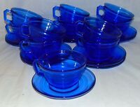 11 Hazel Atlas MODERNTONE COBALT BLUE *CUPS & SAUCERS*