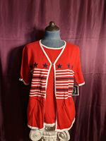 NEW Sag Harbor Petite Red 2 Layered Knit Sweater Womens PM NWT Closet51*