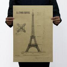 "Poster Vintage Art Wall Decor coffee Shop Paris Eiffel Tower Drawing A2 14""x20"""