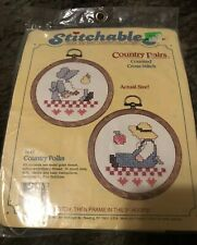Country Folks 7649 Stitchable 1997 Counted Cross Stitch Kit / Hoop frame unopen