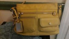 Tignanello Pebbled Mustard Yellow Leather Organizer Cross Body Bag nice for fall