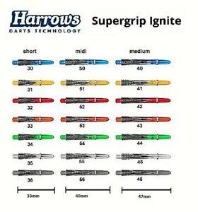 3 - 6 Stück Harrows Supergrip Ignite Dart Schäfte, Shafts  mit Ring