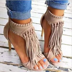Sexy Women Ankle Boots Braid Tassel Shoes Ladies High Heels Zip Peep-Toe Sandals