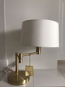 NEW! Ralph Lauren Signature Swing Arm Brass Table Lamp Weighted Base With Shade