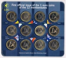 1E OFFICIAL ISSUE TWELVE 1 EURO COINS IN BLISTER BU